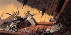 """ Genndy Tartakovsky's Clone Wars. Acrylic background paintings by talented Scott Wills. """