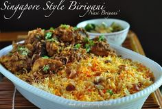 Nasi Briyani Delicious meat masala (chicken or mutton) served with fragrant Biryani Rice, in the Singapore and Malaysia style. A popular recipe for a very different type of Biryani The Recip…