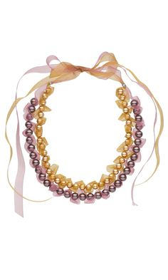 Jewelry Design - Double-Strand Necklace with Swarovski Crystal Pearls and Organza Ribbon - Fire Mountain Gems and Beads