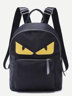 Monster Design Front Zipper Nylon Backpack — € -------------color: Black size: None Sparkle Outfit, Sparkle Skirt, Black Strappy Heels, Metallic Heels, Monster Backpack, Mini Mochila, Napa Leather, Monster Design, Budget Fashion