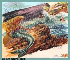 Little Mermaid Fairy Tale Vintage Mermaid Cotton Fabric Print by QUILTFABRICBLOCKS, $6.99  www.mermaidfabricshop.com