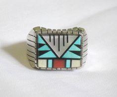 Vintage Mens Ring Inlaid Turquoise Coral Black Onyx Mother of Pearl Navajo
