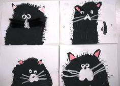 """We read the story """"Splat the Cat"""" and the students created their own drawing of Splat. They sketched their cat in pencil, painted with tempera paint, and used construction paper and pipecleaners to add the face and whiskers."""