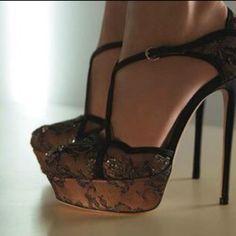 Blk lace heels. Love