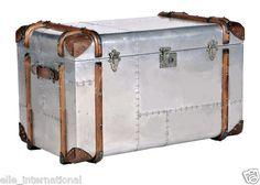 Airplane Aluminum Wing Riveted Truck Chest Locker w Wood Leather Skids New FSHP   eBay