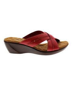 Red Chase Leather Wedge