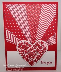 Sunburst Valentine, SUO, Valentine Card, Stampin Up, Valentine Greeting Cards, Making Greeting Cards, Greeting Cards Handmade, Valentines, Valentine Heart, Heart Cards, Creative Cards, Anniversary Cards, Scrapbook Cards