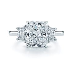 Radiant Cut Diamond and Platinum Ring with Two Trapezoids - Kwiat