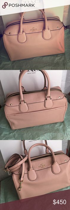 """Coach new with tags Beautiful coach in blush rose with gold hardware zip closure when inside zipper pocket to inside slit pockets one outside magnet closure pocket Beautiful Bring bag dimensions are11"""" across 9"""" deep 5"""" bottom with Will protect your feet coach Bags Crossbody Bags"""