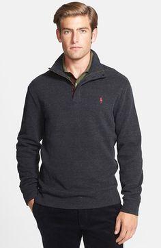 d98e622e4e215 Polo Ralph Lauren Suede Trim Mock Neck Pullover available at #Nordstrom  Mock Neck, Polo