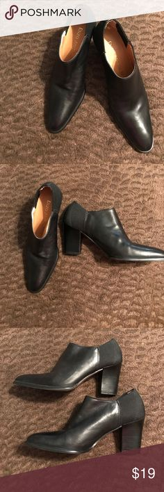 🎉BOGO 1/2 OFF🎉Enzo Blk leather ankle boot 8 1/2 Enzo Angiolini Black leather ankle boots 8 1/2 M. No scuff marks on the outside wooden heels or leather outers. They have leather soles. They are in great condition on the outside other than the man-made lining inside that is flaking off, but is not noticeable on the outside. Enzo Angiolini Shoes Ankle Boots & Booties