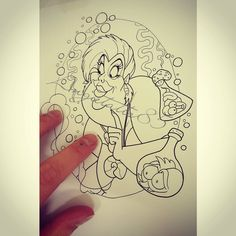 Drawn this Ursula the sea witch from The Little Mermaid and she wants a home…