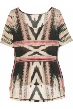 Cool Australian brand sass & bide's Aztec-inspired jersey T-shirt is a laid-back way to work tribal prints for spring. Mirror the subtle pink touches on this relaxed piece with fuchsia pants and raspberry lips.