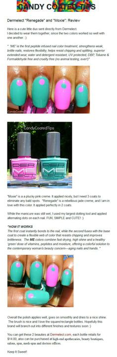 CandyCoatedTips tries out Dermelect's 'ME' in Renegade and Moxie from the Summer 2013 collection!