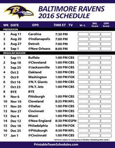 Baltimore Ravens 2016 Football Schedule. Print Schedule Here - http://printableteamschedules.com/NFL/baltimoreravensschedule.php