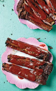 At Smokestack in Kansas City, spare-ribs, a particularly flavorful cut are served with a sweet and spicy sauce.