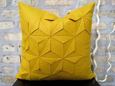Geometric Golden Yellow Wool Felt 18x18 Pillow by whitenest, $75.00