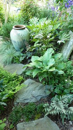NOTE MULTIPLE IDEAS FOR GREEN ON GREEN AND GREAT USE OF GRASSES AND ROCKS  Portland Oregon Garden