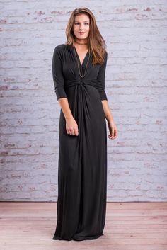 """Twisted Waistline 3/4 Sleeve Maxi Dress - Black"""
