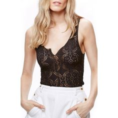 Women's Free People Piece Dye Lace Camisole (€28) ❤ liked on Polyvore featuring intimates, camis, black, free people cami, lacy cami, lace camis, free people camisole and lacy camisole