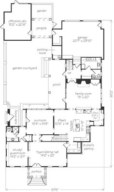 I love the way this floor plan wraps around a central courtyard - LRK