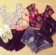 Our BFF summer outfits! Hipster Outfits, Crop Top Outfits, Casual Outfits, Casual Clothes, Girly Outfits, Cute Fashion, Look Fashion, Teen Fashion, Fashion Outfits