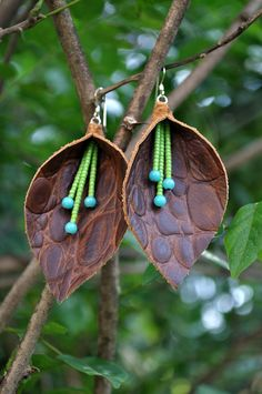 Croc pattern calla lily leather earrings {etsy}