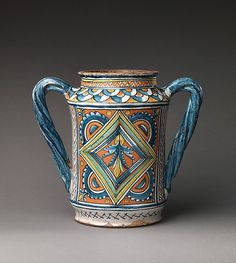 #Maiolica -- Storage Jar (albarello) Circa 1480-1500 -- Umbria, likely Deruta -- The Metropolitan Museum of Art