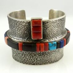 Cobble Inlaid Cuff by Edison Cummings - Garland's Indian Jewelry
