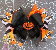 Halloween hair bow girls cute pumpkin hair clip over the top chevron orange polka dots fall costume pumpkin hair bow