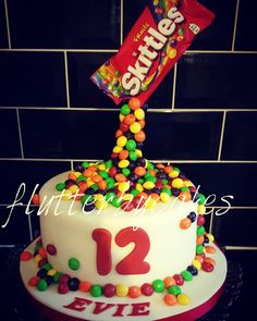 Antigravity skittle cake ALLERGY FREE cakes Pinterest