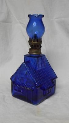 Antique Vintage Cobalt Blue Glass Oil Lamp Unused Shaped Like A Little House   eBay