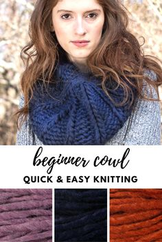 566c376ebbada2 Beginner cowl - quick and easy knitting pattern (1 skein project)! Easy  Knitting