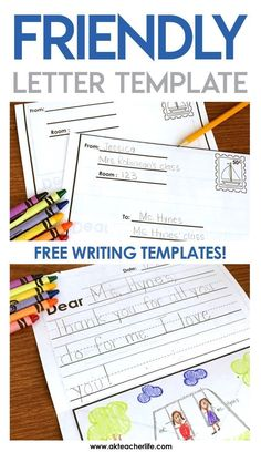 Friendly Letter Writing Paper FREE friendly letter writing templates for primary students. Several writing paper options! The post Friendly Letter Writing Paper appeared first on Paper Diy. Letter Writing For Kids, Letter Template For Kids, Letter Writing Template, 1st Grade Writing, Writing Classes, Kindergarten Writing, Writing Lessons, Teaching Writing, Writing Activities