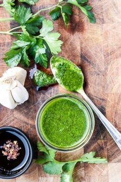 Chimichurri Sauce with Garlic, Parsley and Cilantro. So easy and delicious on grilled meats, pizza, tacos and burgers.http://thefoodblog.net/chimichurri-sauce/