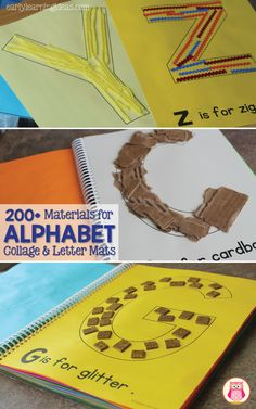 ABC collages and letter mats are great alphabet activities to reinforce letter-sound relationships. This article includes a list of over 200 materials to use as collage materials and/or materials to use on letter mats. This is a great literacy, letter o Teaching Letters, Preschool Letters, Phonics Activities, Learning The Alphabet, Alphabet Activities, Preschool Activities, Children Activities, Therapy Activities, Abc Crafts
