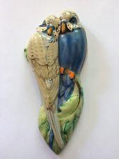 ART DECO GRAYS POTTERY PAIR OF BUDGERIGARS WALL PLAQUE Guppy, Art Deco, Ceramic Birds, Budgies, Wall Pockets, Bird Cage, Wall Plaques, Vintage Walls, Objects