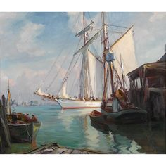 "EMILE ALBERT GRUPPE  (american 1896-1978)  ""THE YANKEE DOCKING""  Signed 'Emile A. Gruppe' bottom right; also inscribed with artist, title, and date '1959' on stretcher bar verso, oil on canvas  30 x 35 in. (76.2 x 88.9cm)"