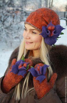 Комплект валяный шапочка и варежки Жозель – купить или заказать в интернет-магазине на Ярмарке Мастеров | Для самой очаровательной и незаурядной - необычно…