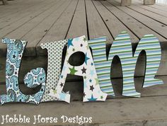 Handmade Baby Nursery Wall Letters Wooden by HobbieHorseDesigns,