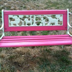 Painted bench - keep the rust and paint the wood red