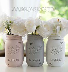 Pink Gray White Painted Mason Jars Weddings by dropclothdesignco