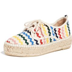 Loeffler Randall Alfie Espadrille Sneakers (2,190 GTQ) ❤ liked on Polyvore featuring shoes, sneakers, flat espadrilles, flat platform shoes, laced up shoes, flat sneakers and flat lace up espadrilles