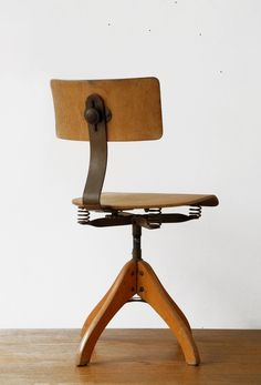 Polstergleich wooden architects swivel chair. sold by RetroRaum on Etsy