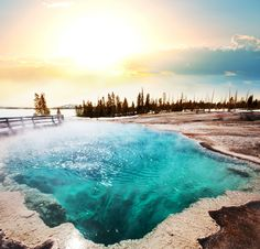 Old Faithful in Yellowstone National Park in Wyoming
