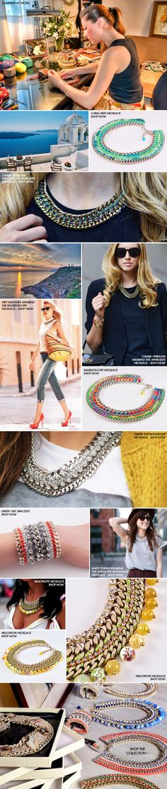 Meet the designer of statement crochet jewelry Lamprini Jewelry Crafts, Handmade Jewelry, Jewelry Ideas, Diy Necklace, Crochet Necklace, Bijoux Diy, A Boutique, Diy Clothes, Diy Accessories