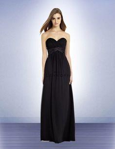 574 Long chiffon bridesmaids dress with satin sash #BlackBridesmaidsDresses