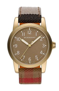 Burberry Round Check Strap Watch | Nordstrom