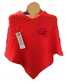 Damen #Poncho Cape Umhang hochwertige Babyalpaka Wolle (rot)