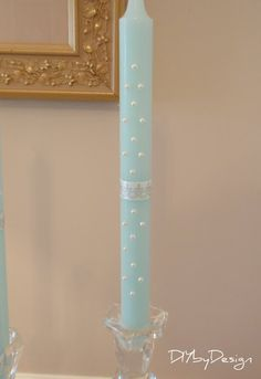 candles embellished with stick on pearls